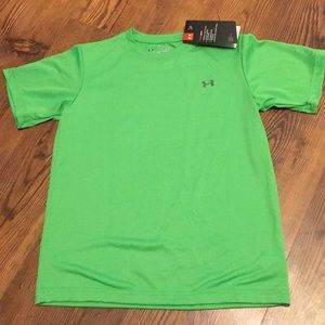Under Armour Youth Small Green Loose Fit Heat Gear